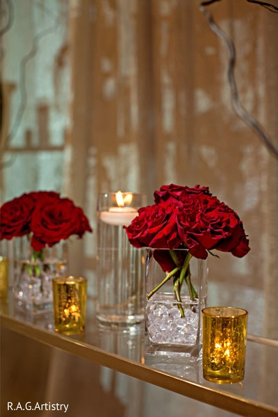 Romantic Indian wedding red roses decoration.