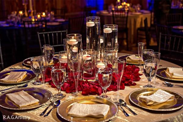 Elegant Indian wedding table glass ware.