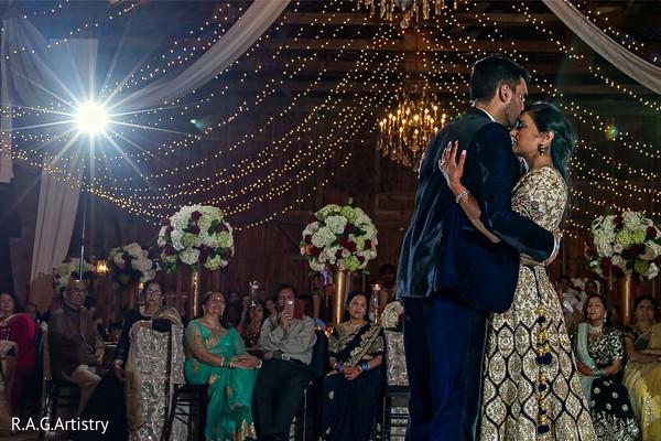 Romantic Indian couple reception dance.