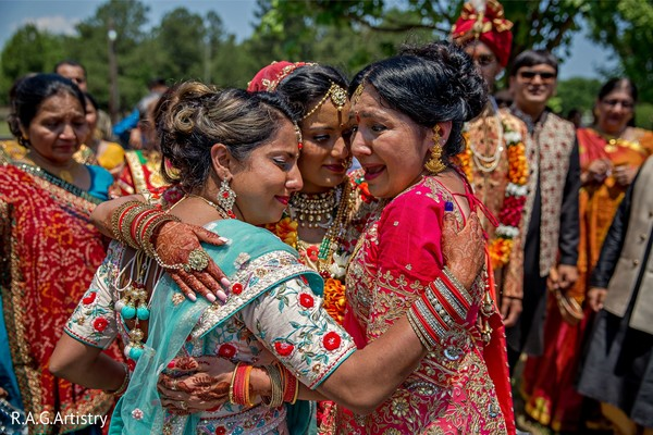 Indian bride saying goodbye.