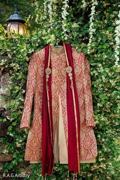 Indian groom's elegant sherwani.