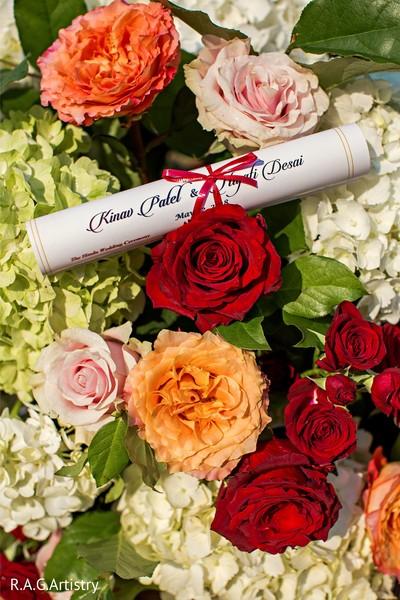 Wonderful Indian wedding flowers decor and invitation capture.