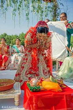 Maharani making offerings ceremony ritual.