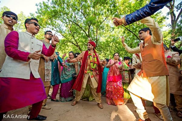 Marvelous Indian groom's baraat celebration.