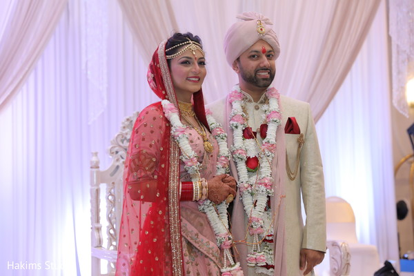 Glamorous Indian bride and groom just married.
