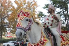Enchanting Indian groom riding his baraat horse.