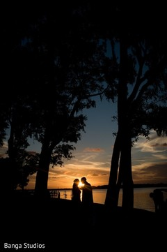 Gorgeous shot of Indian bride and groom outdoors