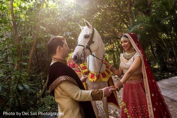 Dreamy Indian couple's first look.