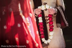 Close up capture of Indian wedding garland for ceremony ritual.