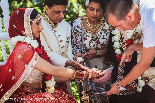 Indian couple during a ceremony ritual.