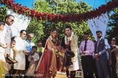 Sweet indian couple at ritual in wedding ceremony.