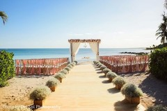 Incredible Indian wedding ceremony by the beach setup.