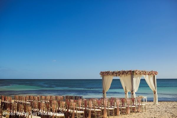 Incredible Indian wedding ceremony setup by the beach.
