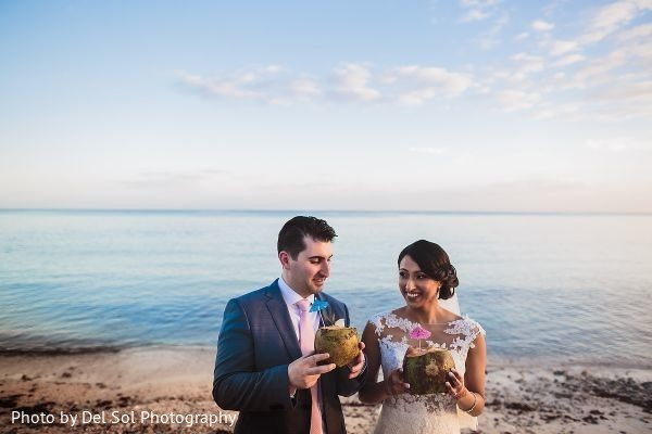 Ravishing Indian couple by the beach photo session.