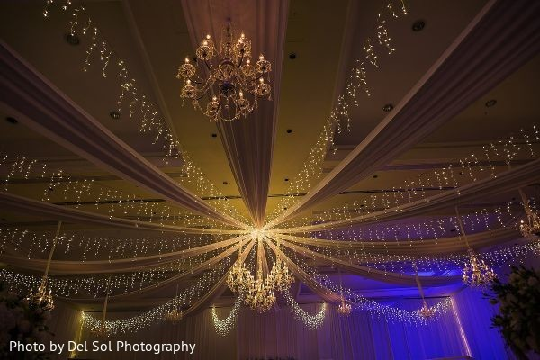 Magnificent Indian wedding reception lights decorations.
