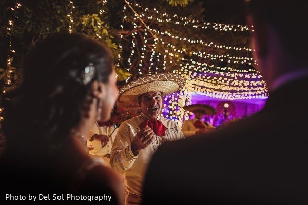 Romantic Indian wedding reception scene.