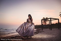 Fabulous Indian bride's photo by the beach.