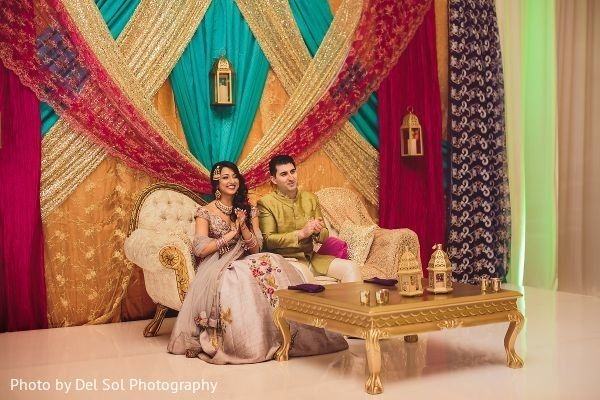 Indian couple at their sangeet party capture.