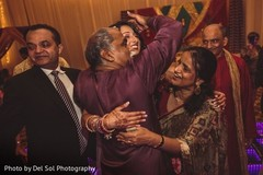 Indian bride celebrating with relatives.