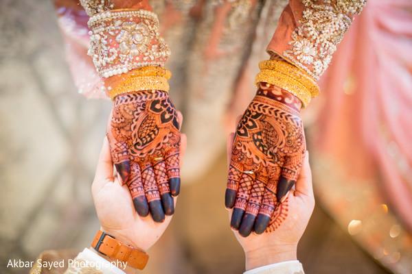 Indian bridal closeup of her mendi art.