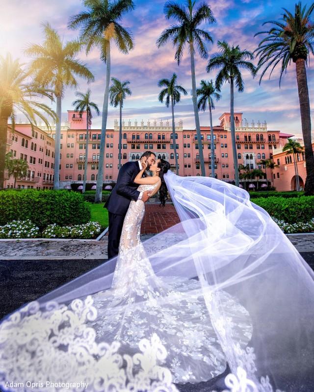 Elegant bride and groom's wedding ceremony fashion.