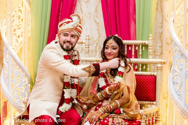 Indian bride and groom during the rituals
