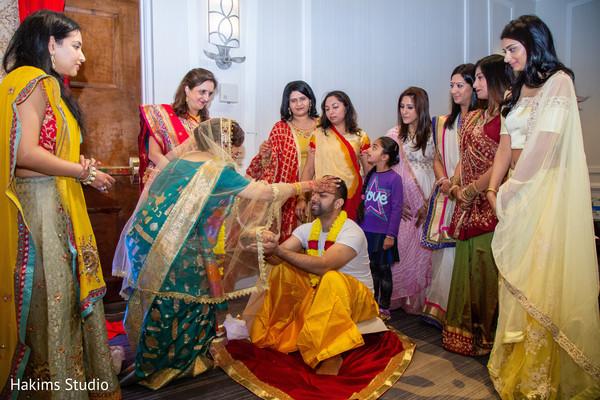 Indian groom at his haldi celebration capture.