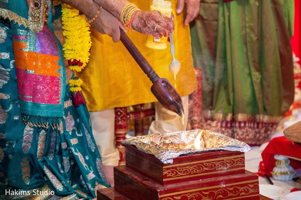 Sacred fire at haldi celebration photography.
