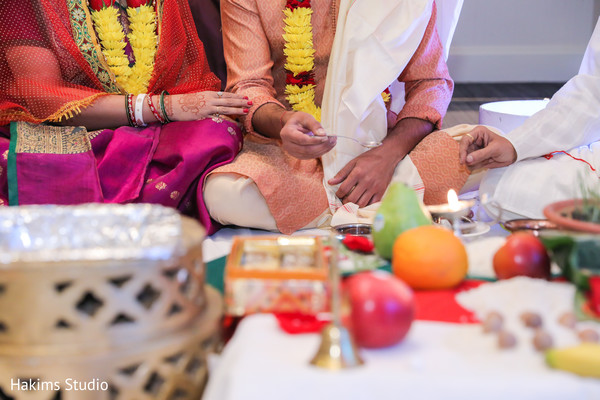 Closeup capture of Indian wedding ritual.