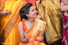 See this lovely Indian bride at her Gaye Holud.