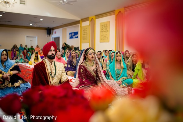 Gorgeous Indian bride and groom during their ceremony celebration.
