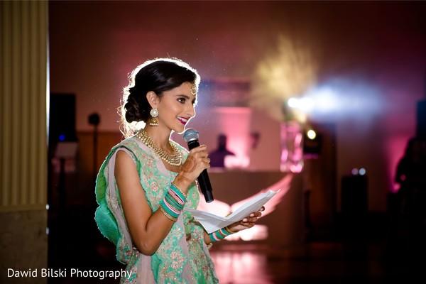 Enchanting Indian bridesmaid at reception.