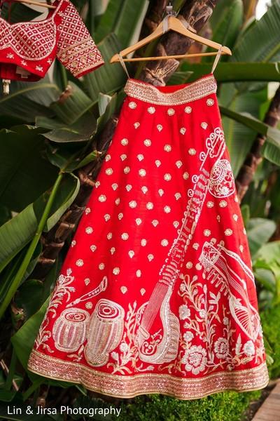 Closeup capture of maharani's lehenga embroidery.