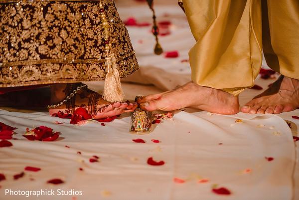 Indian couple during the Saptapadi ritual.