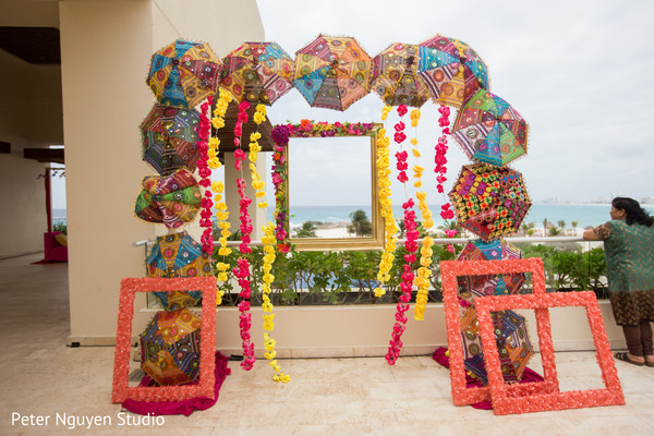 Colorful Indian pre-wedding decorations.