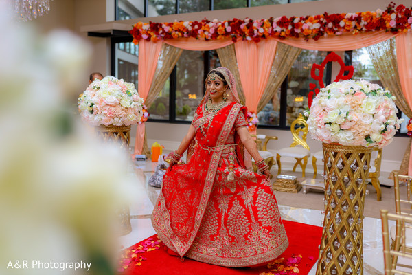 Indian bride showing her dazzling lengha