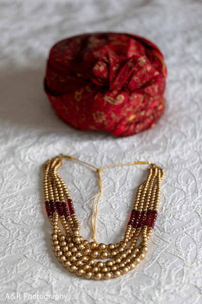 Bride's jewelry and groom's pagri