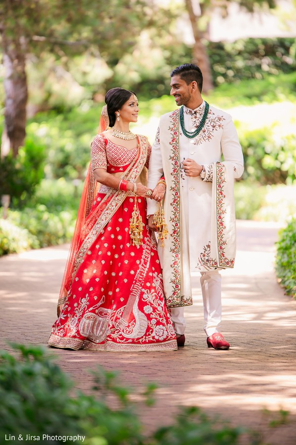 Lovely Indian bride and groom first look moment.