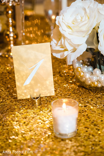 Elegant Indian wedding table number.
