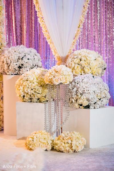Stunning Indian wedding reception stage flowers decor.