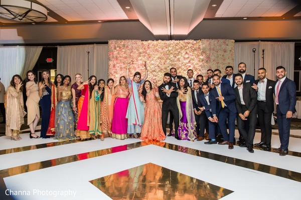 Indian newlyweds with their special guests