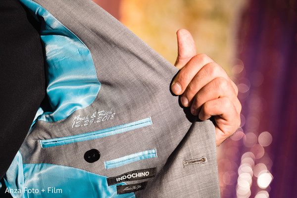 Indian grooms personalized suit for sangeet.