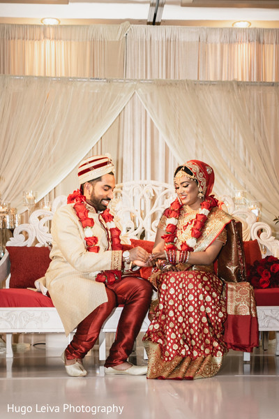 Indian bride and groom having a romantic moment