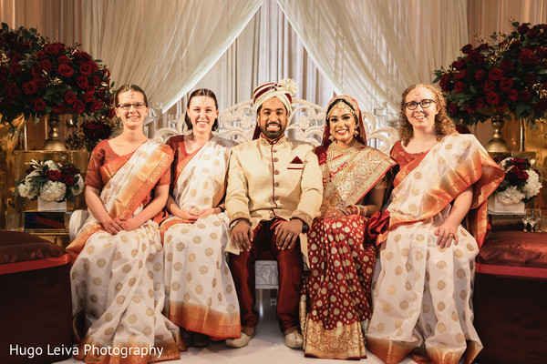 Indian groom and bride with Maharanis