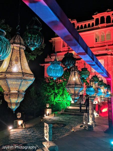 Elegant Indian wedding hanging lanterns.
