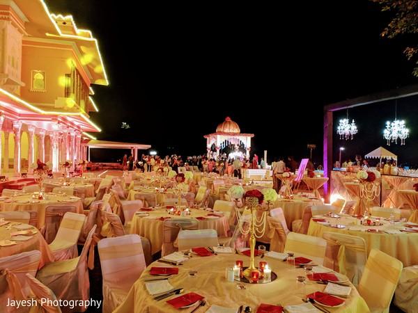 Elegant Indian wedding tablecloths decor.