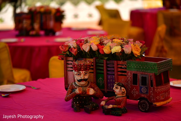 Incredible Indian pre-wedding table decorations.