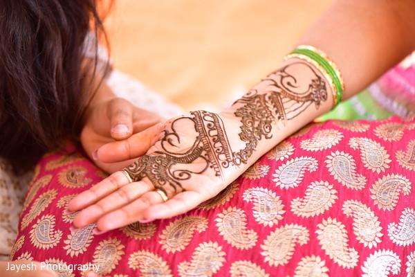 Closeup capture of Indian pre-wedding mehndi art.