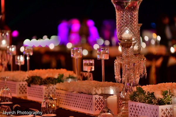 Incredible Indian wedding reception table decorations.
