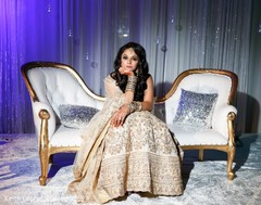 Indian bride enjoying wedding reception